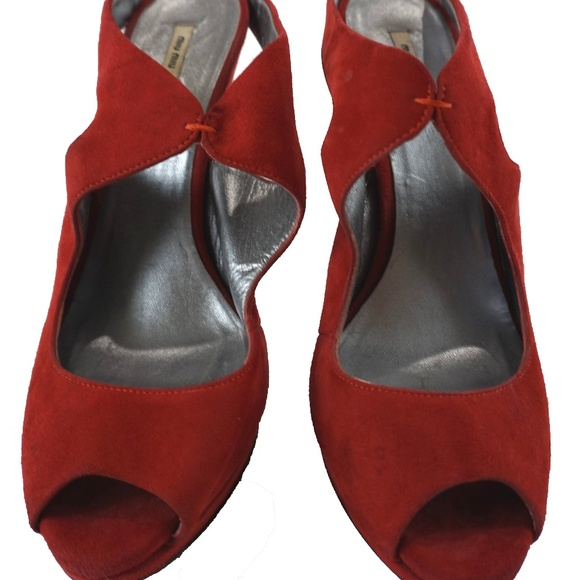0d4b37efaff1 Miu Miu Shoes - MIU MIU Red Platform Suede Ankle Strap Heels 8
